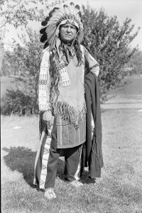 "William ""Lone Star"" Dietz dressed in Sioux Indian clothing"